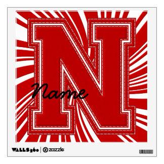 Letra colegial N de la etiqueta de la letra, roja