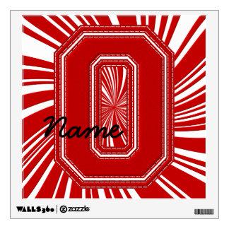 Letra colegial O de la etiqueta de la letra, roja