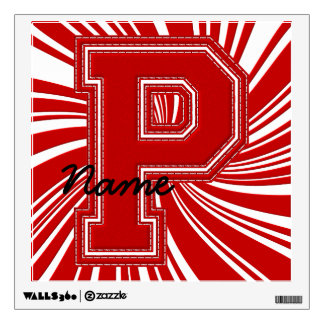 Letra colegial P de la etiqueta de la letra, roja