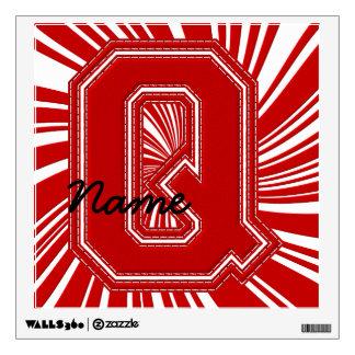 Letra colegial Q de la etiqueta de la letra, roja