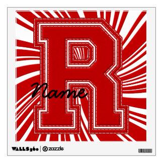 Letra colegial R de la etiqueta de la letra, roja