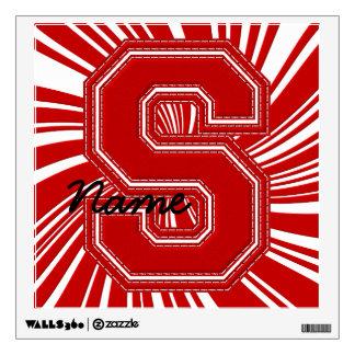 Letra colegial S de la etiqueta de la letra, roja
