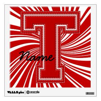 Letra colegial T de la etiqueta de la letra, roja