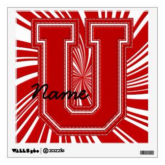 Letra colegial U de la etiqueta de la letra, roja