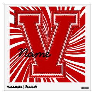 Letra colegial V de la etiqueta de la letra, roja