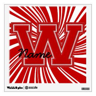 Letra colegial W de la etiqueta de la letra, roja