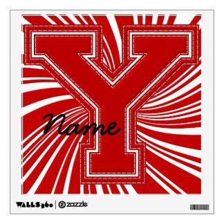 Letra colegial Y de la etiqueta de la letra, roja