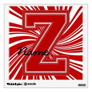Letra colegial Z de la etiqueta de la letra, roja