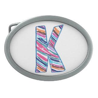 Letra colorida K como en Kay Hebilla Cinturon Oval