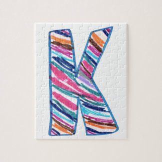 Letra colorida K como en Kay Puzzles