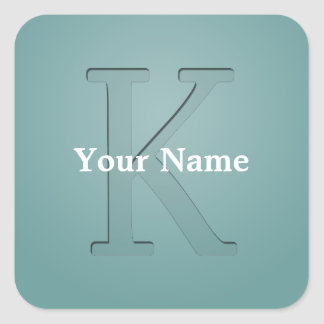 Letra con monograma K de la inserción Pegatina Cuadrada
