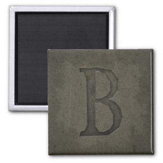 Letra concreta B del monograma Imán Cuadrado
