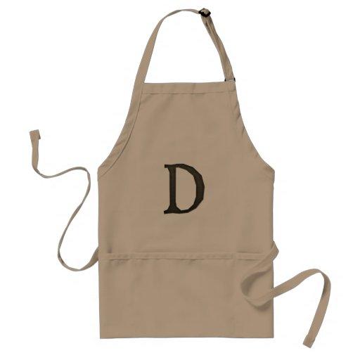 Letra concreta D del monograma Delantal