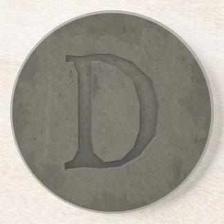 Letra concreta D del monograma Posavasos Diseño
