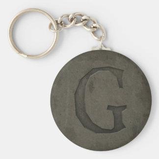 Letra concreta G del monograma Llavero Redondo Tipo Pin