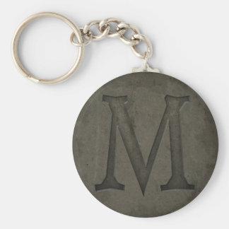 Letra concreta M del monograma Llavero Redondo Tipo Pin