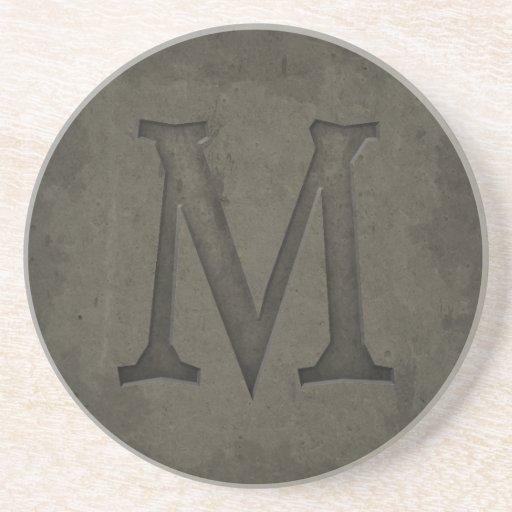 Letra concreta M del monograma Posavasos Manualidades