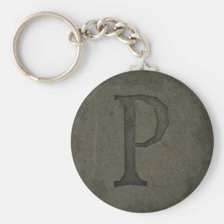 Letra concreta P del monograma Llavero Redondo Tipo Pin