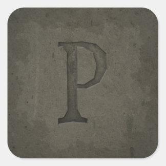 Letra concreta P del monograma Pegatina Cuadrada
