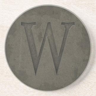 Letra concreta W del monograma Posavaso Para Bebida