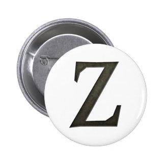 Letra concreta Z del monograma Pin Redondo De 2 Pulgadas