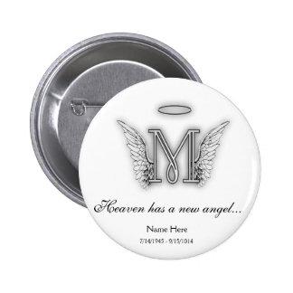 Letra conmemorativa M del tributo del monograma Pin Redondo De 2 Pulgadas