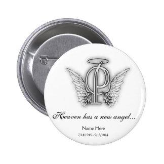 Letra conmemorativa P del tributo del monograma Pin Redondo De 2 Pulgadas