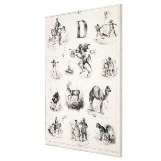 Letra D de una cartilla del alfabeto, 1832 Lienzo Envuelto Para Galerías