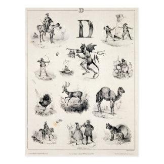 Letra D de una cartilla del alfabeto, 1832 Postal