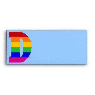 Letra D del arco iris Sobres