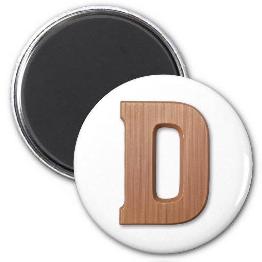 Letra D del chocolate Imanes Para Frigoríficos