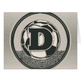 Letra D del monograma del fútbol del medallista de Tarjeta De Felicitación Grande
