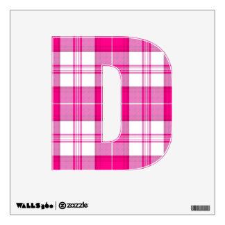 letra D del tartán de la tela escocesa del rosa de