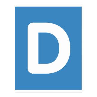 Letra D - gorjeo del emoji Tarjetas Postales