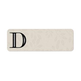 Letra D - negro del damasco Etiqueta De Remite