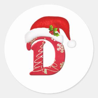 Letra D, pegatina del monograma del navidad del