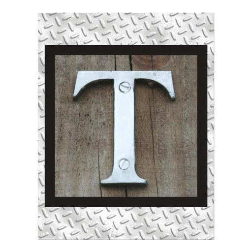 Letra de acero L placa del metal plateado rústico  Plantillas De Membrete