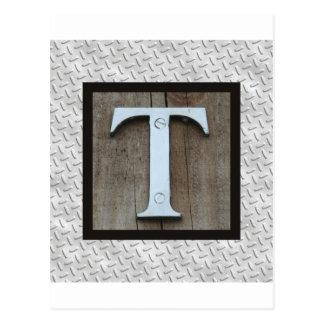 Letra de acero L placa del metal plateado rústico Postales