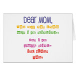 Letra de amor a la mamá tarjetas