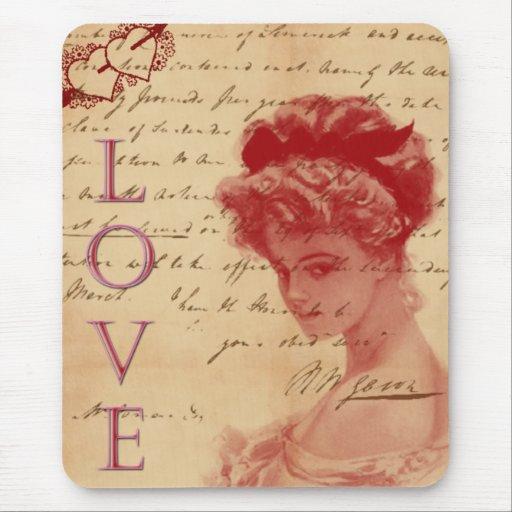 Letra de amor antigua Mousepad Alfombrilla De Raton