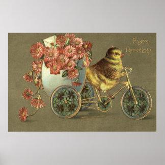Letra de amor de la bici del crisantemo del huevo póster