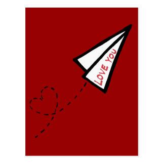 Letra de amor de papel del avión de aire postales