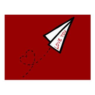 Letra de amor de papel del avión de aire tarjeta postal