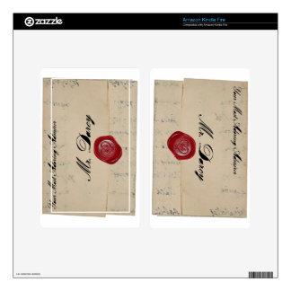 Letra de amor de Sr. Darcy Regency Kindle Fire Pegatinas Skins