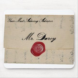 Letra de amor de Sr. Darcy Regency Mousepad Tapetes De Raton