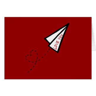 Letra de amor del aeroplano de papel tarjeta de felicitación