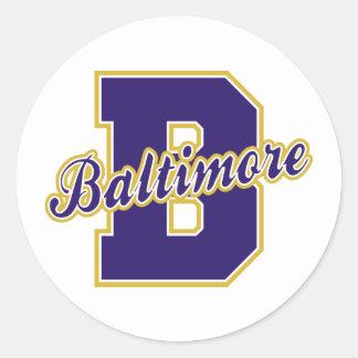 Letra de Baltimore Pegatina Redonda