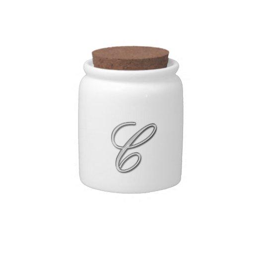 Letra de cristal elegante C del monograma Platos Para Caramelos