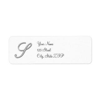 Letra de cristal elegante S del monograma Etiqueta De Remite