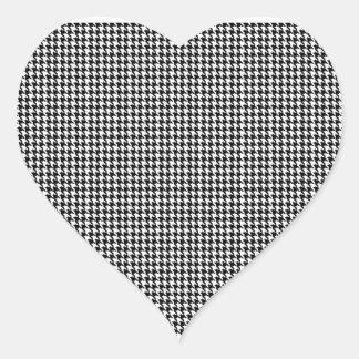 Letra de encargo con monograma de Houndstooth Pegatina En Forma De Corazón